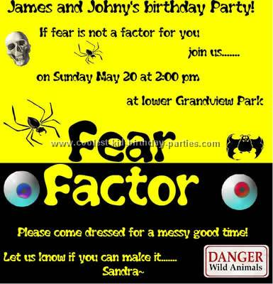 Coolest Fear Factor Party Ideas and Photos